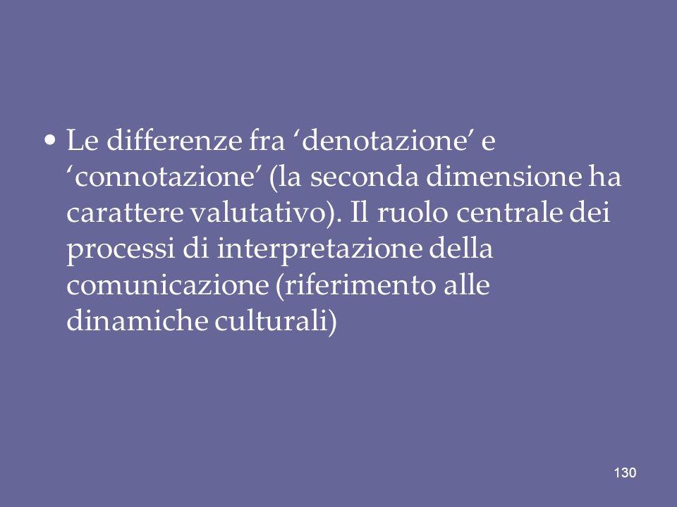 Le differenze fra denotazione e connotazione (la seconda dimensione ha carattere valutativo). Il ruolo centrale dei processi di interpretazione della