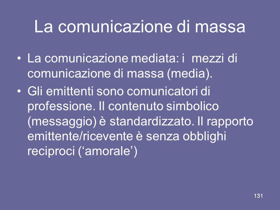 La comunicazione di massa La comunicazione mediata: i mezzi di comunicazione di massa (media). Gli emittenti sono comunicatori di professione. Il cont