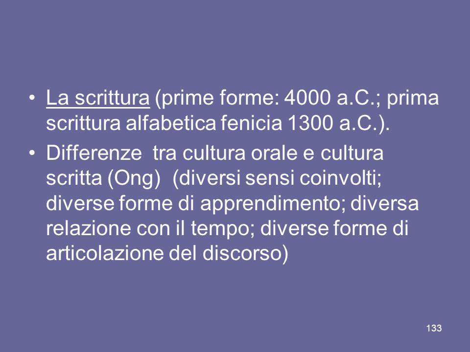 La scrittura (prime forme: 4000 a.C.; prima scrittura alfabetica fenicia 1300 a.C.). Differenze tra cultura orale e cultura scritta (Ong) (diversi sen