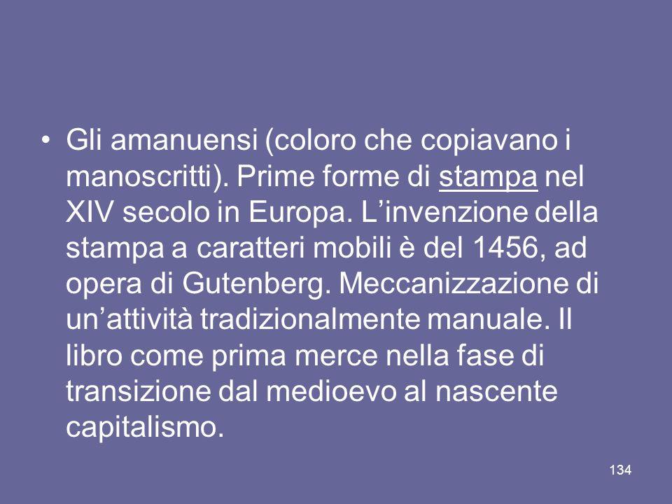 Gli amanuensi (coloro che copiavano i manoscritti). Prime forme di stampa nel XIV secolo in Europa. Linvenzione della stampa a caratteri mobili è del