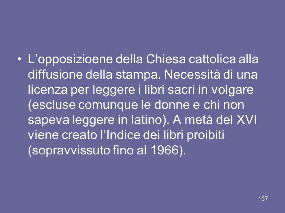 Lopposizioene della Chiesa cattolica alla diffusione della stampa. Necessità di una licenza per leggere i libri sacri in volgare (escluse comunque le