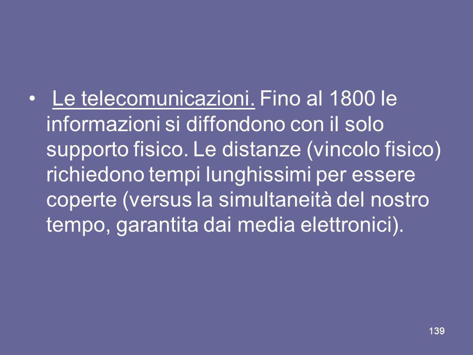 Le telecomunicazioni. Fino al 1800 le informazioni si diffondono con il solo supporto fisico. Le distanze (vincolo fisico) richiedono tempi lunghissim