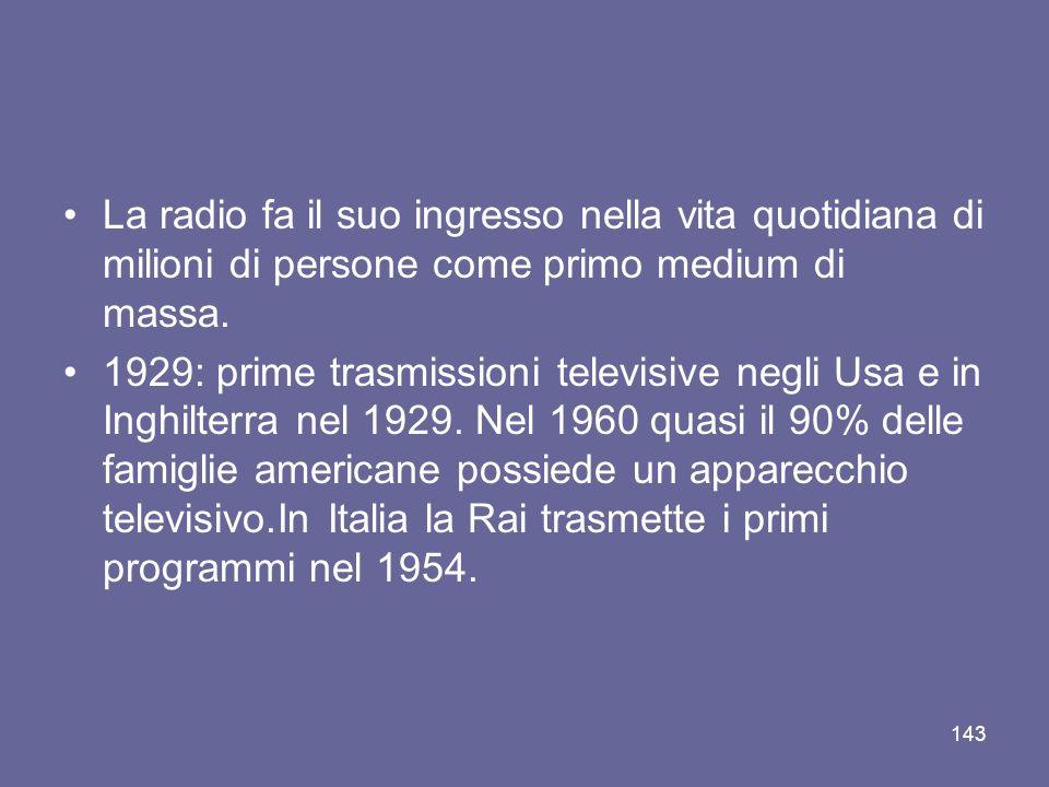 La radio fa il suo ingresso nella vita quotidiana di milioni di persone come primo medium di massa. 1929: prime trasmissioni televisive negli Usa e in
