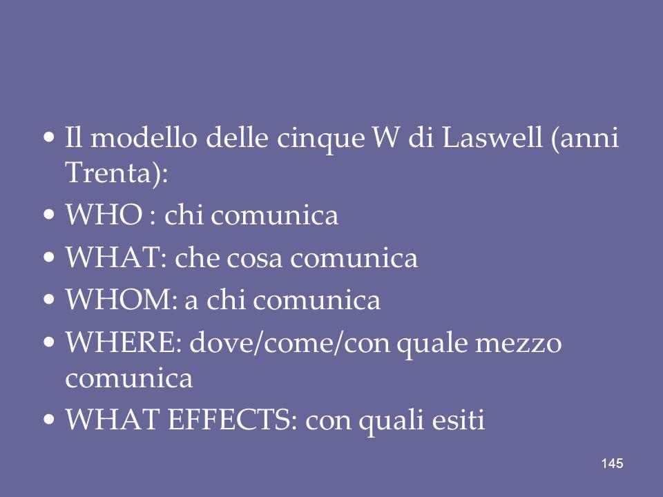 Il modello delle cinque W di Laswell (anni Trenta): WHO : chi comunica WHAT: che cosa comunica WHOM: a chi comunica WHERE: dove/come/con quale mezzo c