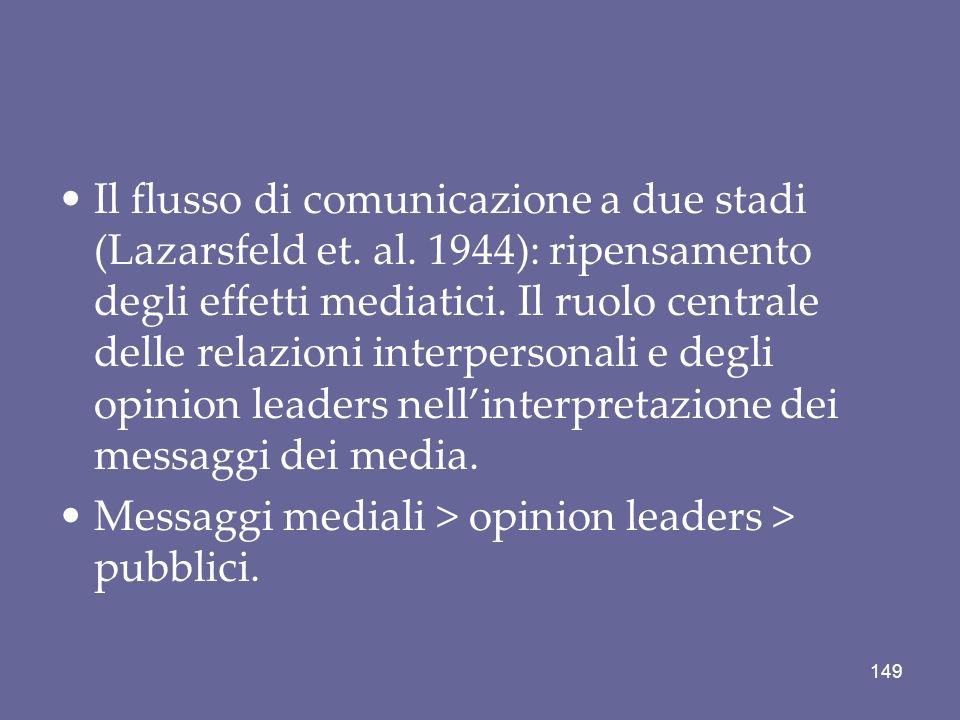 Il flusso di comunicazione a due stadi (Lazarsfeld et. al. 1944): ripensamento degli effetti mediatici. Il ruolo centrale delle relazioni interpersona