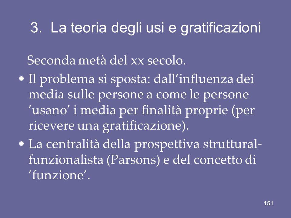 3. La teoria degli usi e gratificazioni Seconda metà del xx secolo. Il problema si sposta: dallinfluenza dei media sulle persone a come le persone usa