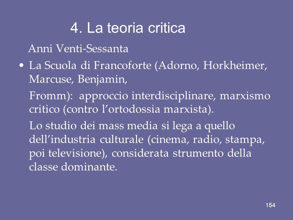 4. La teoria critica Anni Venti-Sessanta La Scuola di Francoforte (Adorno, Horkheimer, Marcuse, Benjamin, Fromm): approccio interdisciplinare, marxism