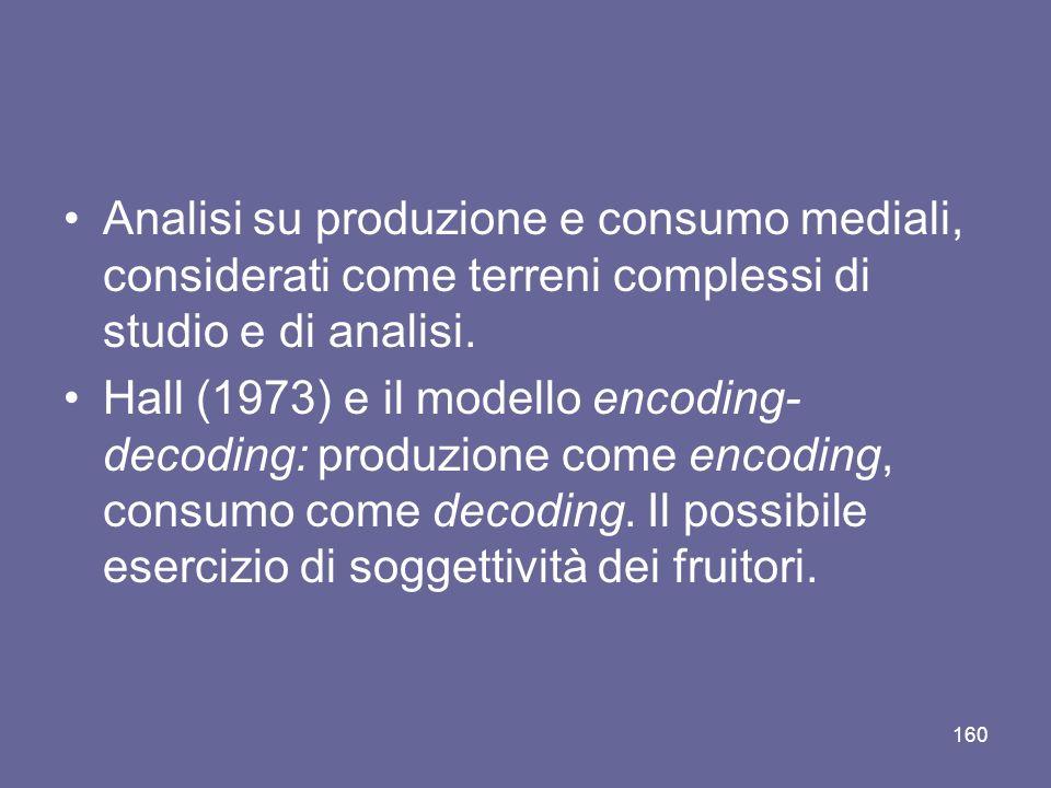 Analisi su produzione e consumo mediali, considerati come terreni complessi di studio e di analisi. Hall (1973) e il modello encoding- decoding: produ