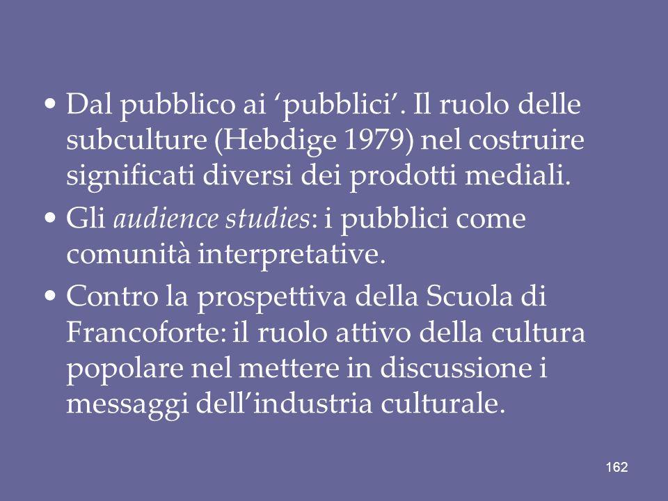 Dal pubblico ai pubblici. Il ruolo delle subculture (Hebdige 1979) nel costruire significati diversi dei prodotti mediali. Gli audience studies: i pub
