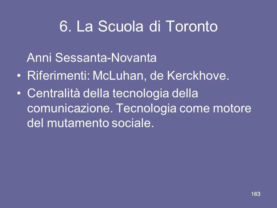 6. La Scuola di Toronto Anni Sessanta-Novanta Riferimenti: McLuhan, de Kerckhove. Centralità della tecnologia della comunicazione. Tecnologia come mot