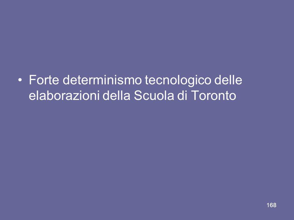 Forte determinismo tecnologico delle elaborazioni della Scuola di Toronto 168