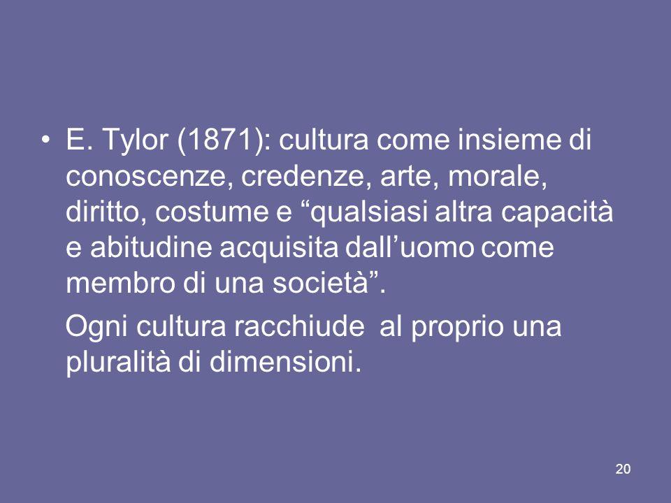 E. Tylor (1871): cultura come insieme di conoscenze, credenze, arte, morale, diritto, costume e qualsiasi altra capacità e abitudine acquisita dalluom