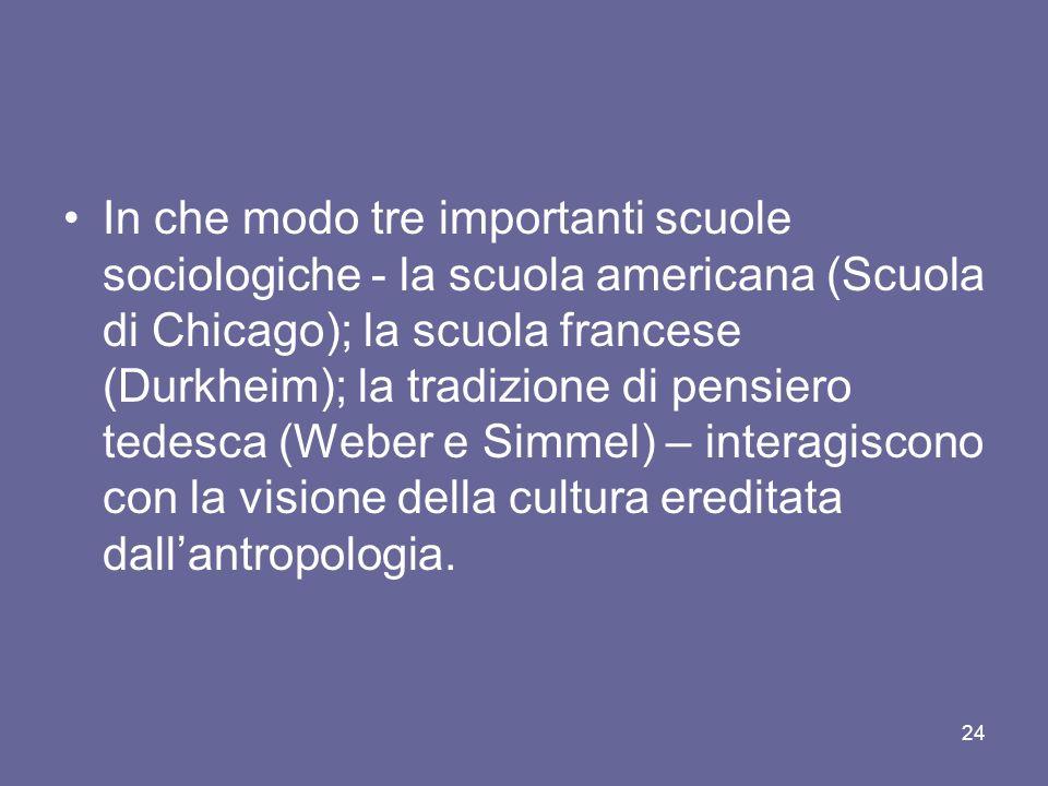 In che modo tre importanti scuole sociologiche - la scuola americana (Scuola di Chicago); la scuola francese (Durkheim); la tradizione di pensiero ted