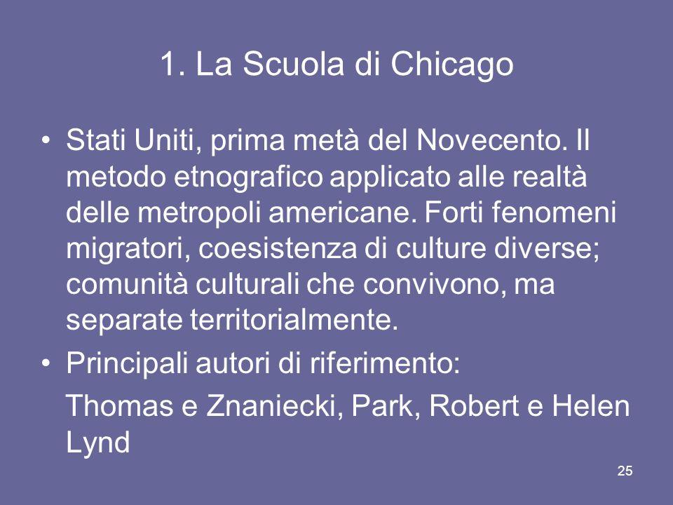 1. La Scuola di Chicago Stati Uniti, prima metà del Novecento. Il metodo etnografico applicato alle realtà delle metropoli americane. Forti fenomeni m