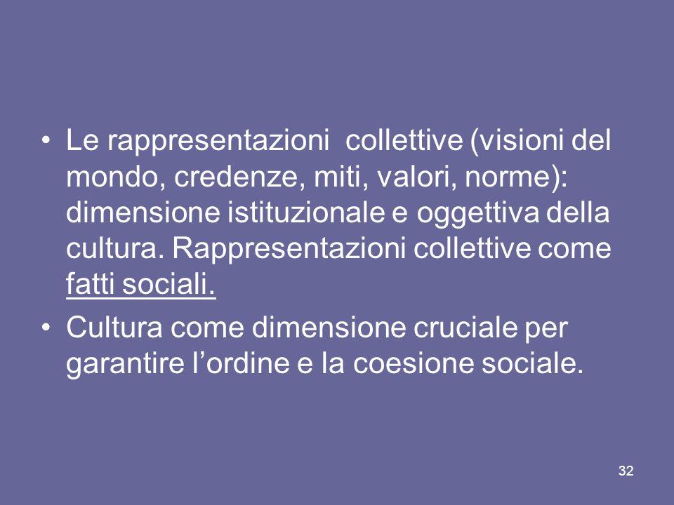 Le rappresentazioni collettive (visioni del mondo, credenze, miti, valori, norme): dimensione istituzionale e oggettiva della cultura. Rappresentazion