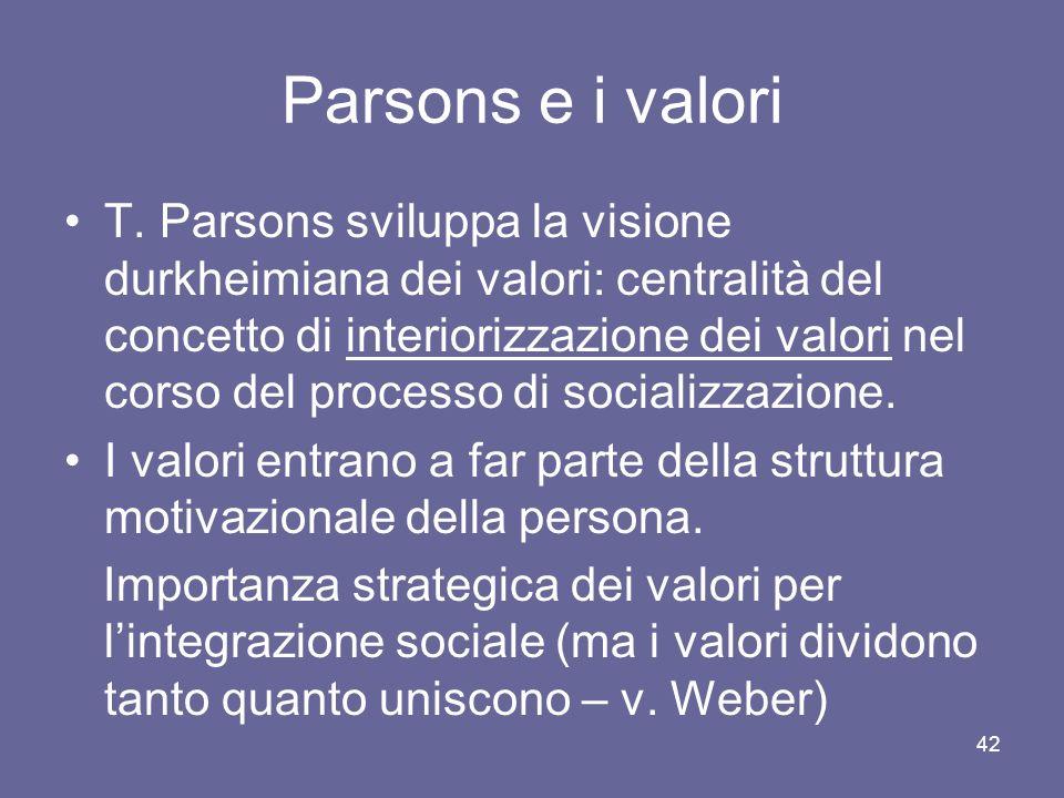 Parsons e i valori T. Parsons sviluppa la visione durkheimiana dei valori: centralità del concetto di interiorizzazione dei valori nel corso del proce