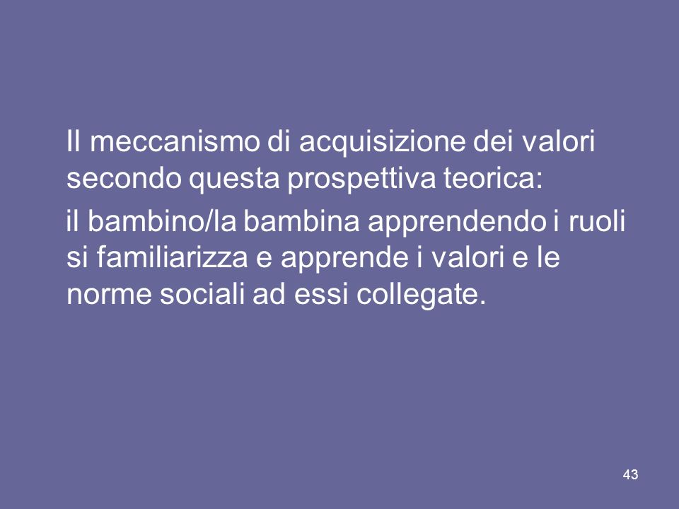 Il meccanismo di acquisizione dei valori secondo questa prospettiva teorica: il bambino/la bambina apprendendo i ruoli si familiarizza e apprende i va