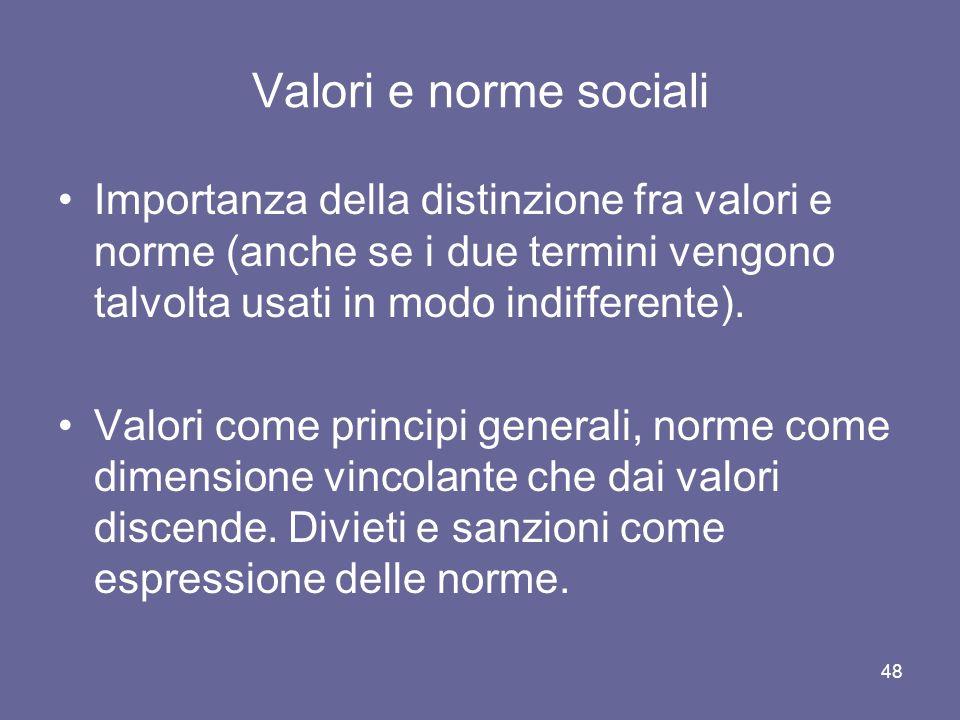 Valori e norme sociali Importanza della distinzione fra valori e norme (anche se i due termini vengono talvolta usati in modo indifferente). Valori co
