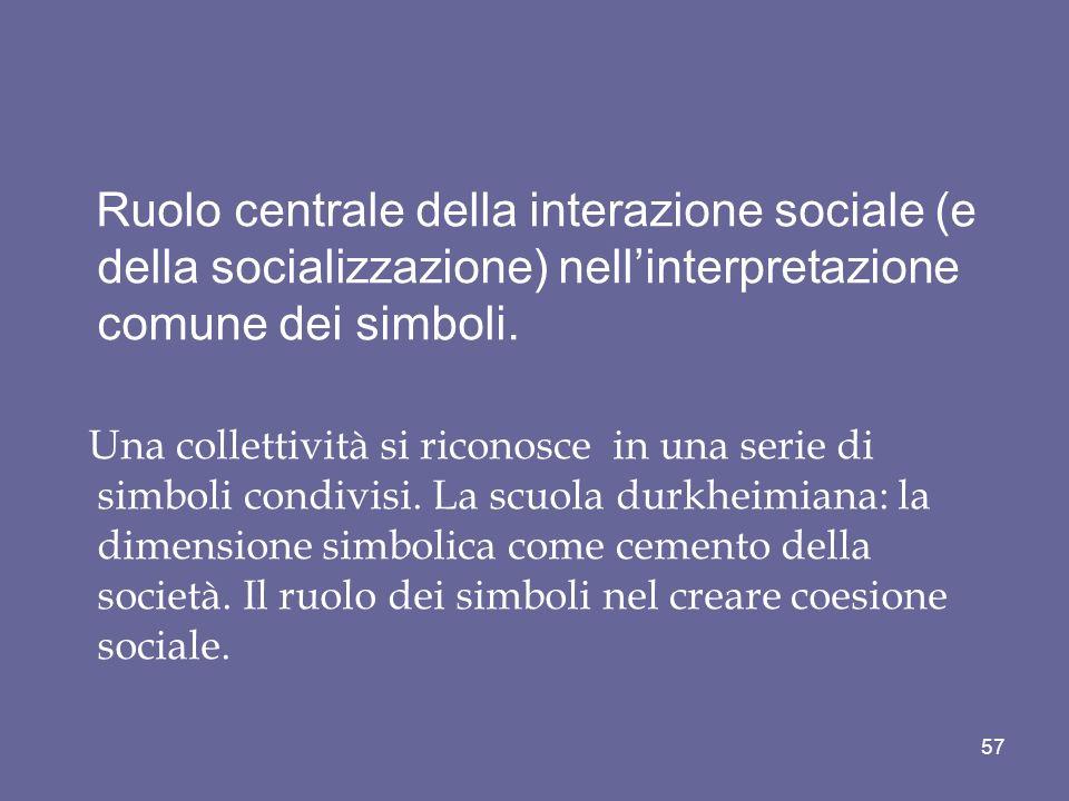 Ruolo centrale della interazione sociale (e della socializzazione) nellinterpretazione comune dei simboli. Una collettività si riconosce in una serie