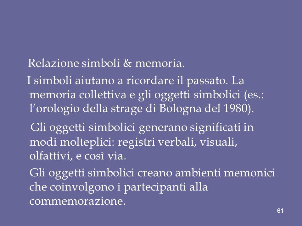 Relazione simboli & memoria. I simboli aiutano a ricordare il passato. La memoria collettiva e gli oggetti simbolici (es.: lorologio della strage di B