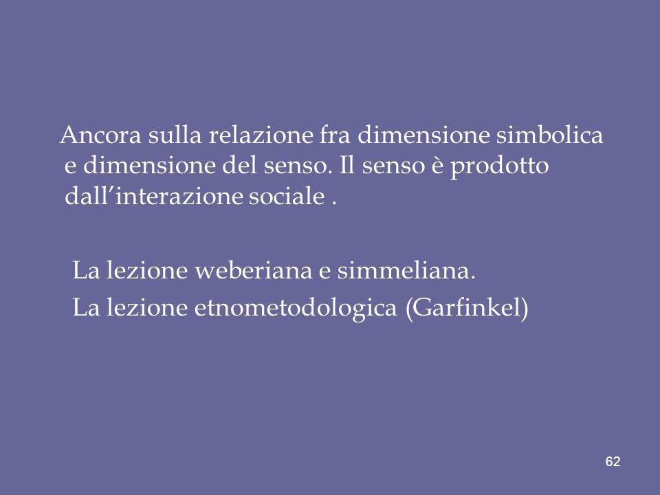 Ancora sulla relazione fra dimensione simbolica e dimensione del senso. Il senso è prodotto dallinterazione sociale. La lezione weberiana e simmeliana