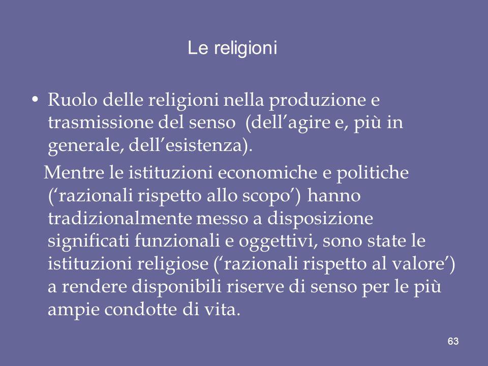 Le religioni Ruolo delle religioni nella produzione e trasmissione del senso (dellagire e, più in generale, dellesistenza). Mentre le istituzioni econ