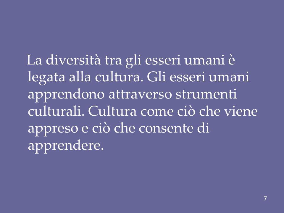 La diversità tra gli esseri umani è legata alla cultura. Gli esseri umani apprendono attraverso strumenti culturali. Cultura come ciò che viene appres