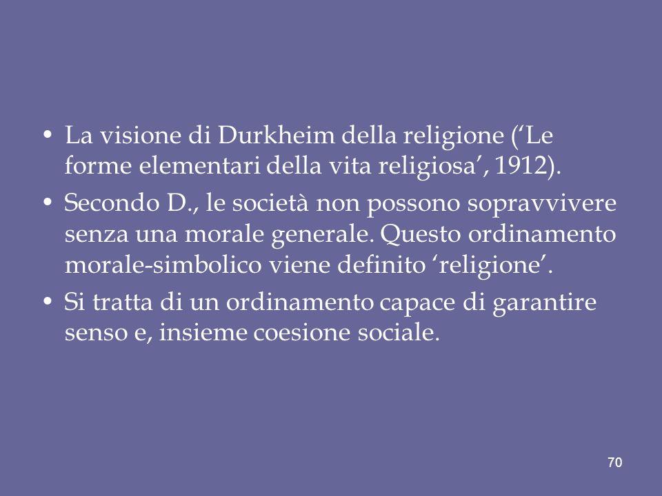 La visione di Durkheim della religione (Le forme elementari della vita religiosa, 1912). Secondo D., le società non possono sopravvivere senza una mor