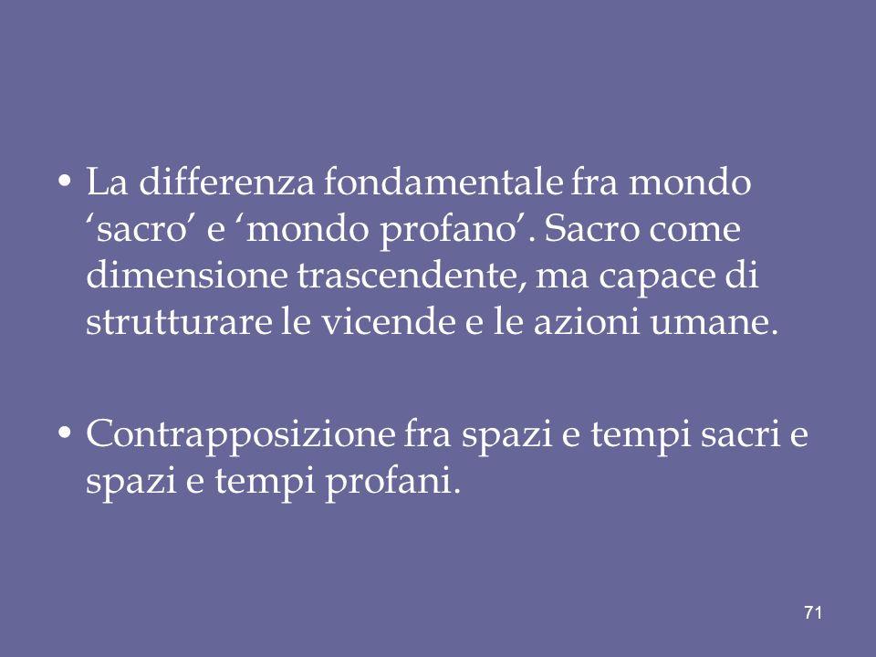 La differenza fondamentale fra mondo sacro e mondo profano. Sacro come dimensione trascendente, ma capace di strutturare le vicende e le azioni umane.