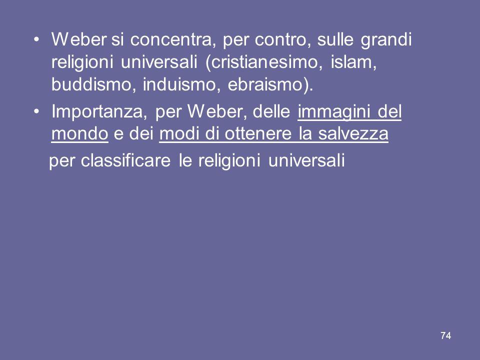 Weber si concentra, per contro, sulle grandi religioni universali (cristianesimo, islam, buddismo, induismo, ebraismo). Importanza, per Weber, delle i