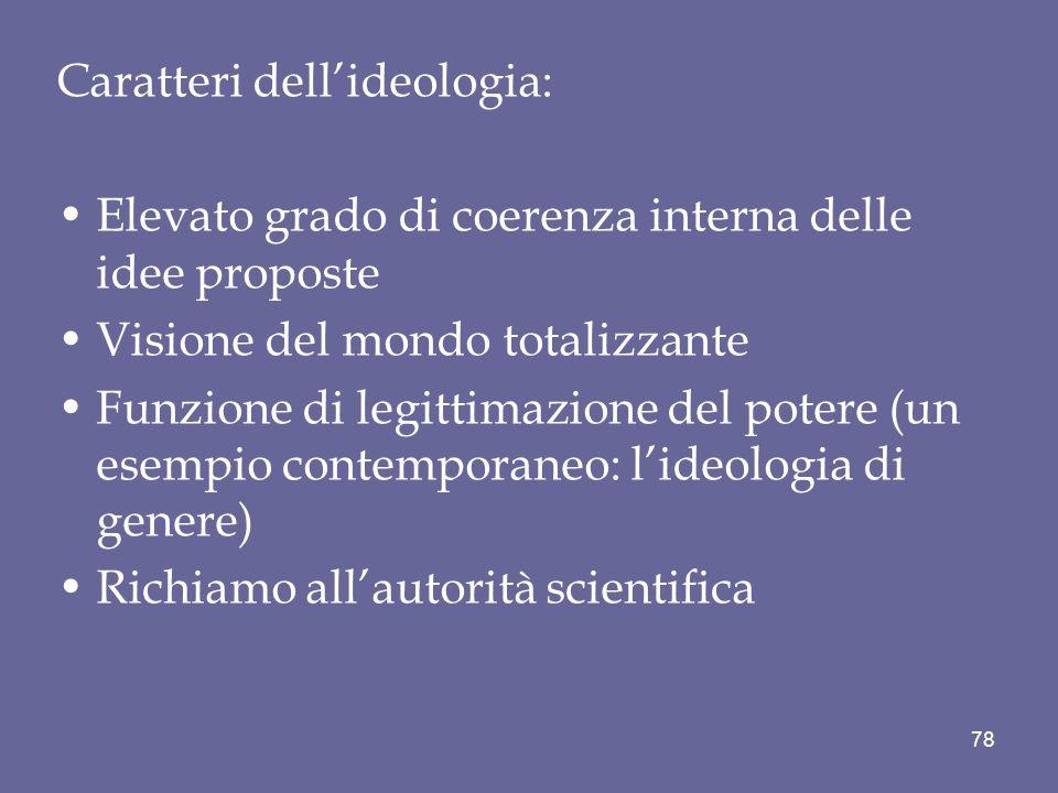 Caratteri dellideologia: Elevato grado di coerenza interna delle idee proposte Visione del mondo totalizzante Funzione di legittimazione del potere (u