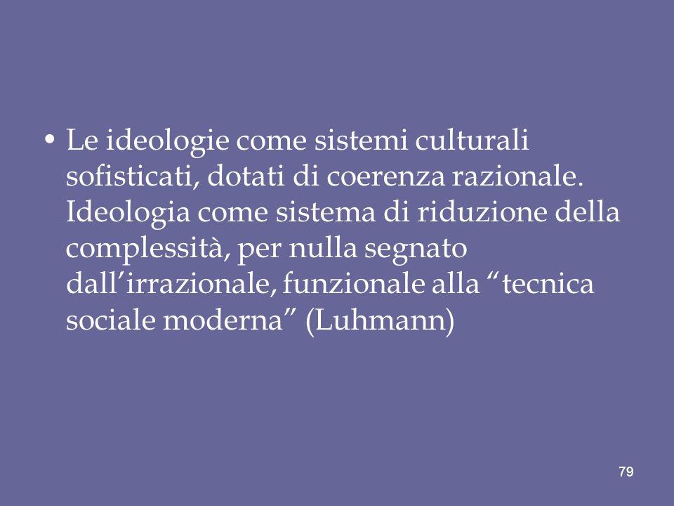 Le ideologie come sistemi culturali sofisticati, dotati di coerenza razionale. Ideologia come sistema di riduzione della complessità, per nulla segnat