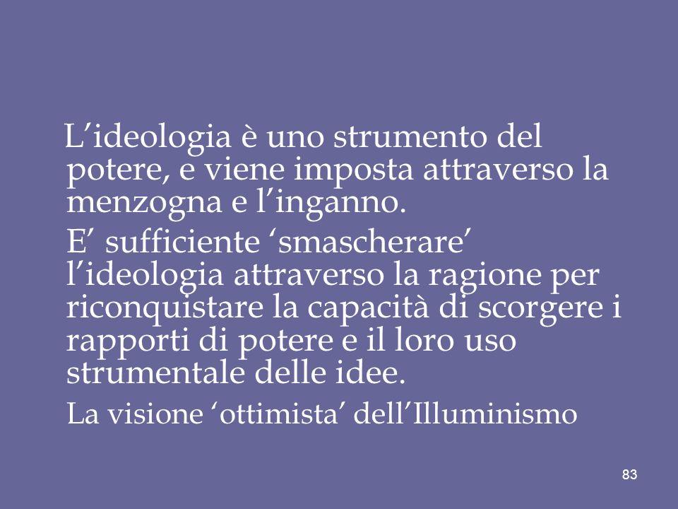 Lideologia è uno strumento del potere, e viene imposta attraverso la menzogna e linganno. E sufficiente smascherare lideologia attraverso la ragione p