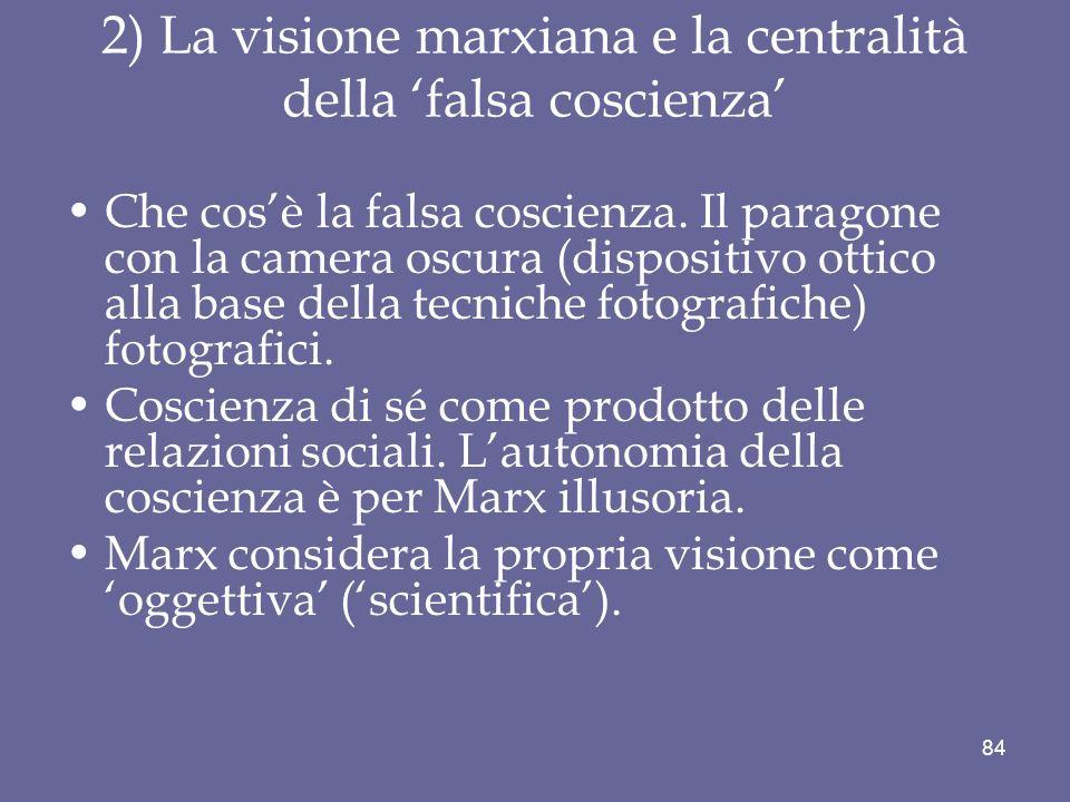 2) La visione marxiana e la centralità della falsa coscienza Che cosè la falsa coscienza. Il paragone con la camera oscura (dispositivo ottico alla ba