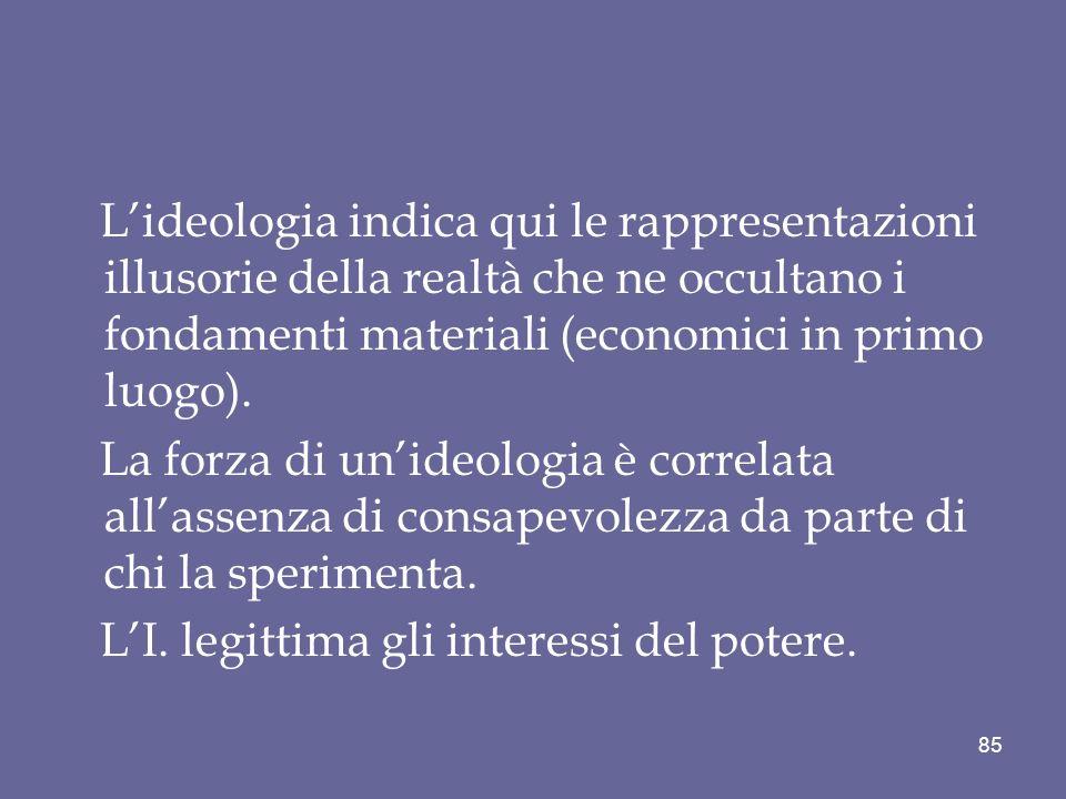 Lideologia indica qui le rappresentazioni illusorie della realtà che ne occultano i fondamenti materiali (economici in primo luogo). La forza di unide