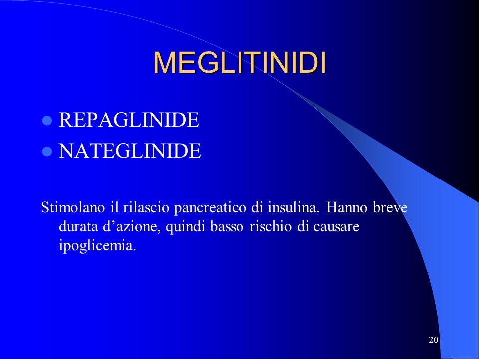 20 MEGLITINIDI REPAGLINIDE NATEGLINIDE Stimolano il rilascio pancreatico di insulina. Hanno breve durata dazione, quindi basso rischio di causare ipog