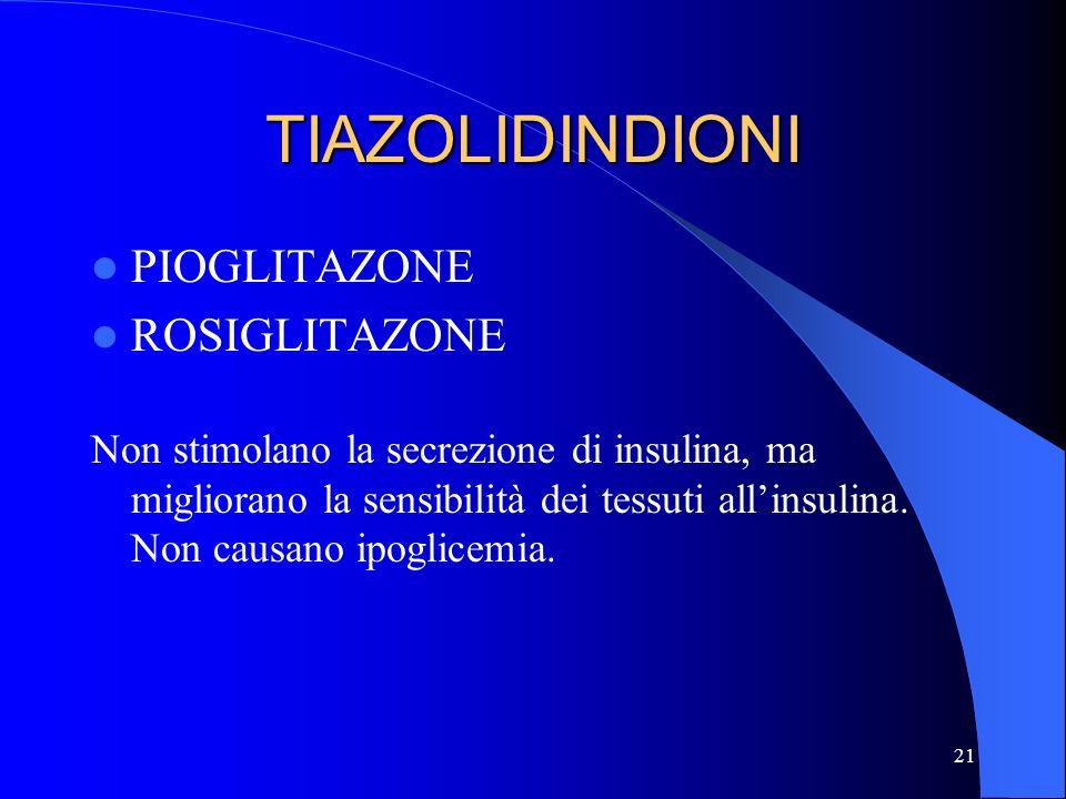 21 TIAZOLIDINDIONI PIOGLITAZONE ROSIGLITAZONE Non stimolano la secrezione di insulina, ma migliorano la sensibilità dei tessuti allinsulina. Non causa