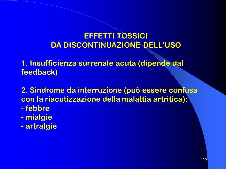 29 EFFETTI TOSSICI DA DISCONTINUAZIONE DELL'USO 1. Insufficienza surrenale acuta (dipende dal feedback) 2. Sindrome da interruzione (può essere confus