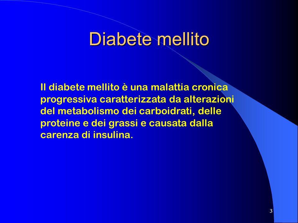3 Diabete mellito Il diabete mellito è una malattia cronica progressiva caratterizzata da alterazioni del metabolismo dei carboidrati, delle proteine