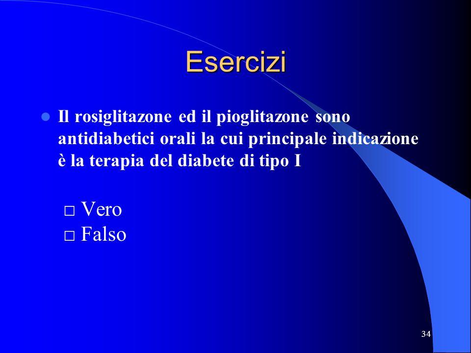 34 Esercizi Il rosiglitazone ed il pioglitazone sono antidiabetici orali la cui principale indicazione è la terapia del diabete di tipo I Vero Falso
