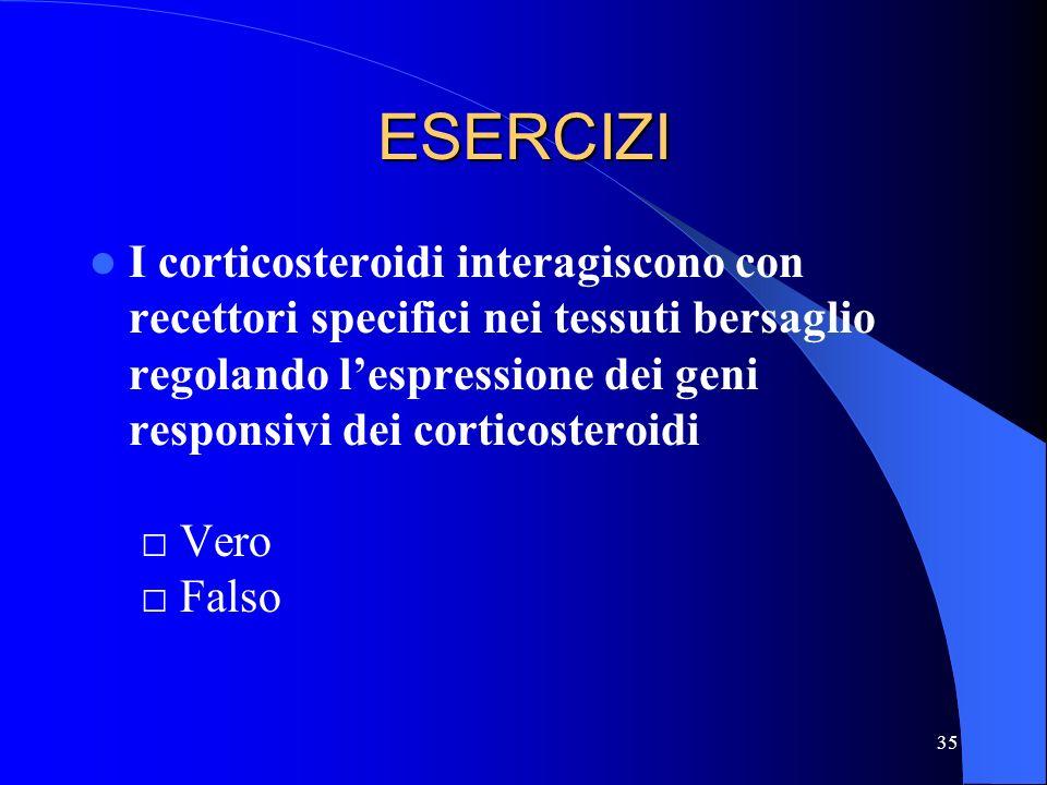 35 ESERCIZI I corticosteroidi interagiscono con recettori specifici nei tessuti bersaglio regolando lespressione dei geni responsivi dei corticosteroi