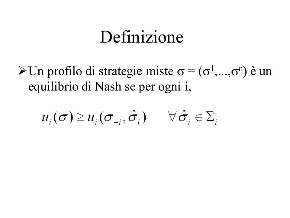 Strategie miste Due tipi di strategie: pure miste Due tipi di equilibrio In strategie pure In strategie miste