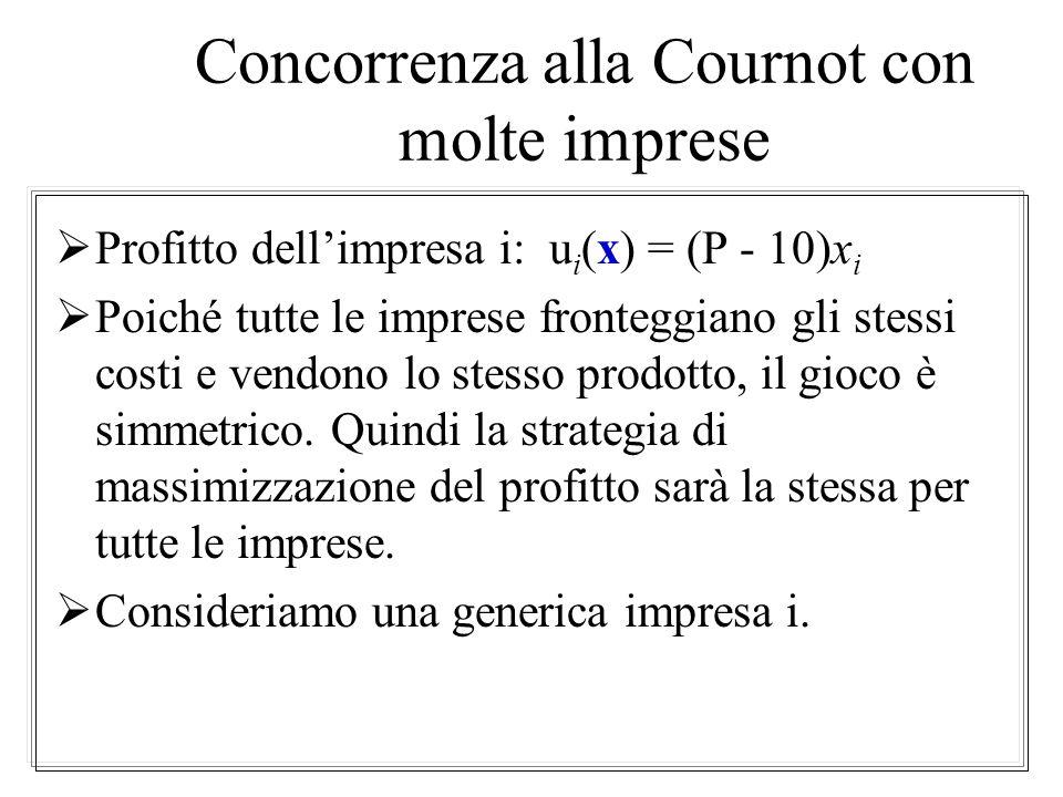 Caratteristiche dellequilibrio di Cournot Q Equilibrio di monopolio $130 $70 $50 $10 Equilibrio di Cournot Equilibrio di concorrenza perfetta P 608012