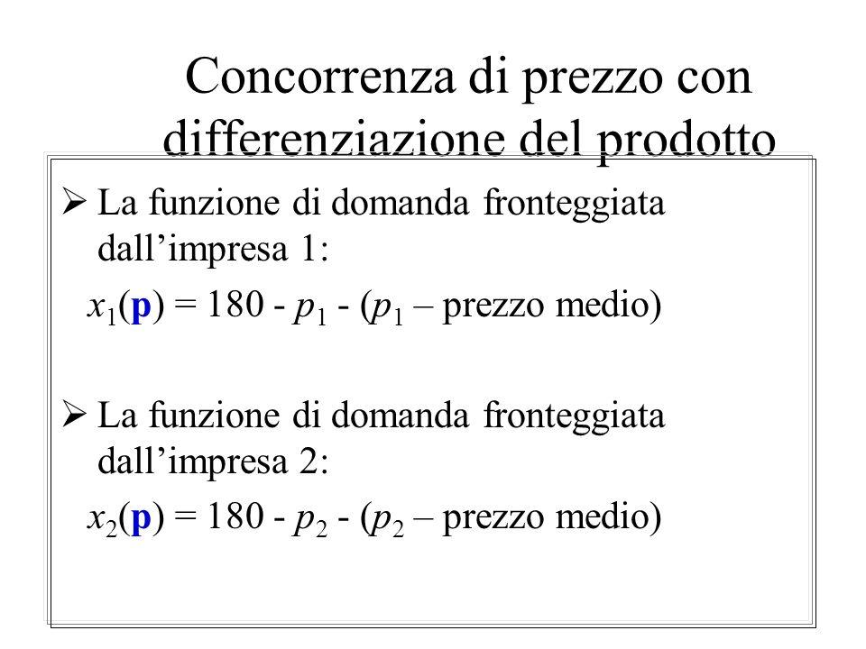 Differenziazione del prodotto La caratteristica comune a tutti i modelli con differenziazione del prodotto è che se il prezzo è leggermente maggiore d