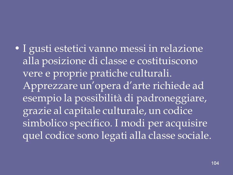 I gusti estetici vanno messi in relazione alla posizione di classe e costituiscono vere e proprie pratiche culturali.