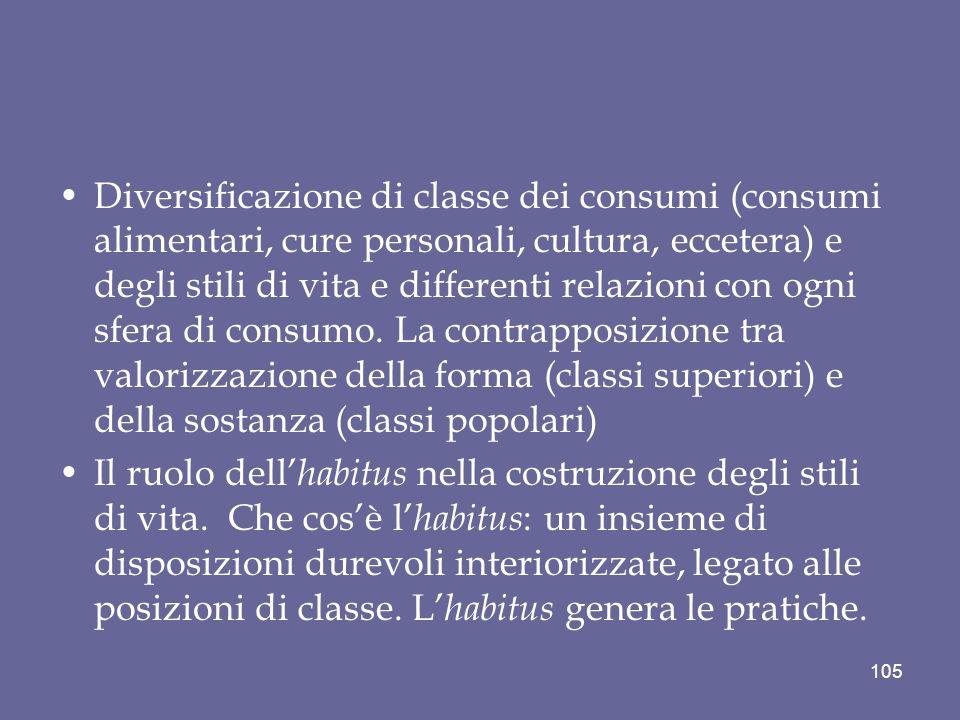 Diversificazione di classe dei consumi (consumi alimentari, cure personali, cultura, eccetera) e degli stili di vita e differenti relazioni con ogni sfera di consumo.