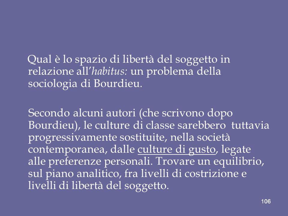 Qual è lo spazio di libertà del soggetto in relazione all habitus: un problema della sociologia di Bourdieu.