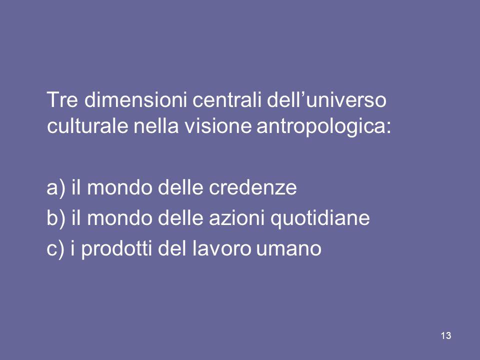 Tre dimensioni centrali delluniverso culturale nella visione antropologica: a) il mondo delle credenze b) il mondo delle azioni quotidiane c) i prodotti del lavoro umano 13