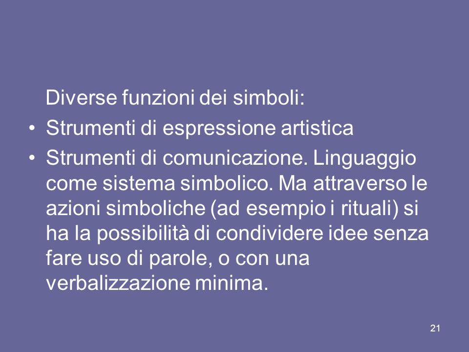 Diverse funzioni dei simboli: Strumenti di espressione artistica Strumenti di comunicazione.