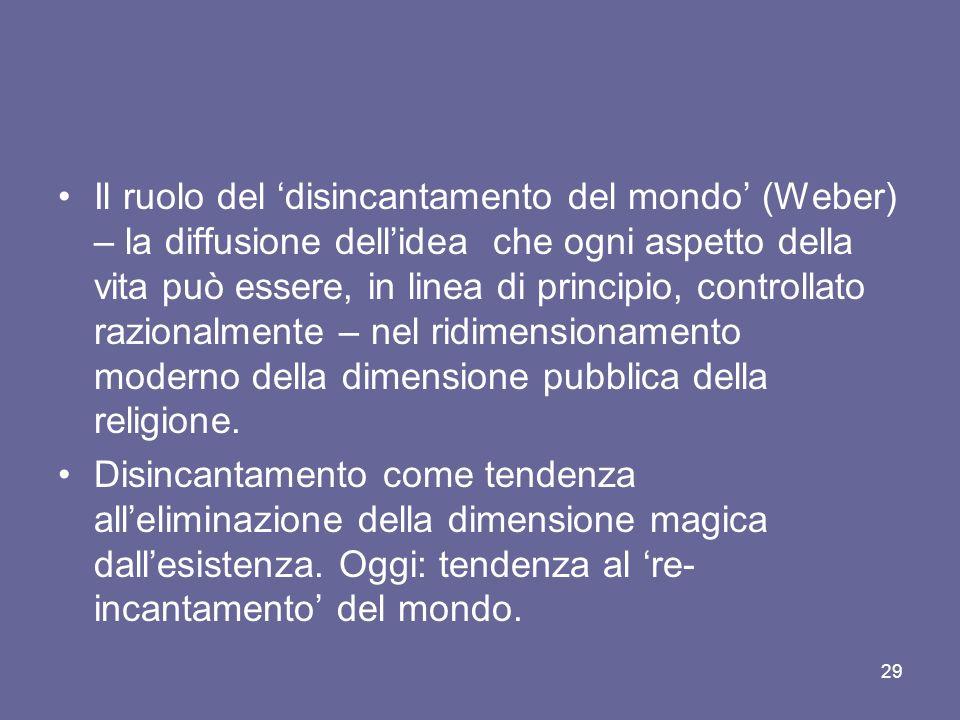 Il ruolo del disincantamento del mondo (Weber) – la diffusione dellidea che ogni aspetto della vita può essere, in linea di principio, controllato razionalmente – nel ridimensionamento moderno della dimensione pubblica della religione.
